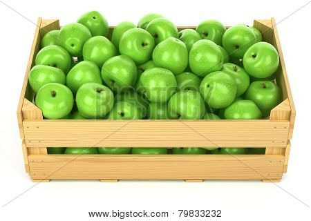 Green Apples In The Wooden Crate