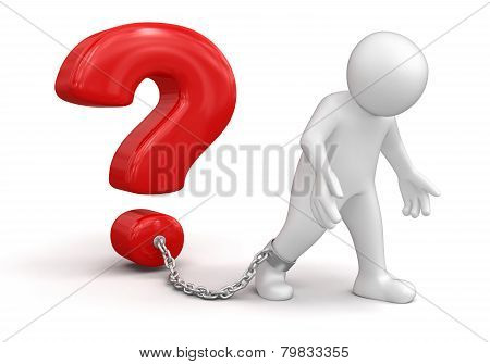 Man and question (clipping path included)