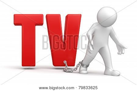 Man and TV (clipping path included)