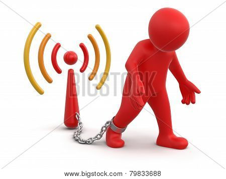 Man and Wireless Symbol (clipping path included)