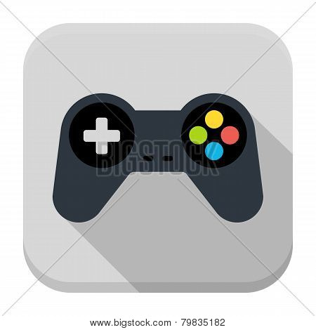 Game Controller Flat App Icon With Long Shadow