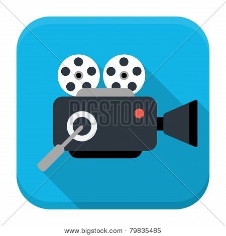 Movie Cam Flat App Icon With Long Shadow