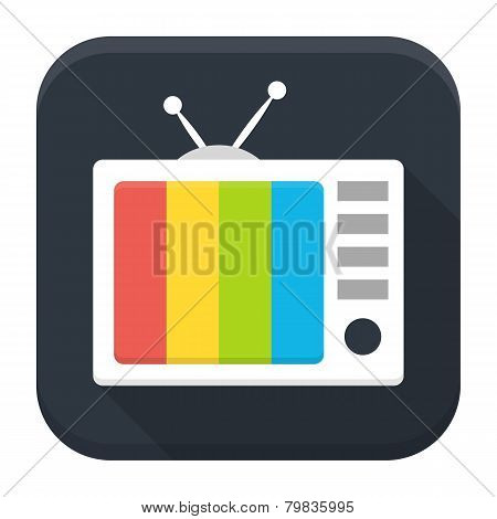 Tv Show Flat App Icon With Long Shadow