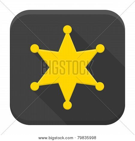 Western Sheriff Star Flat App Icon With Long Shadow