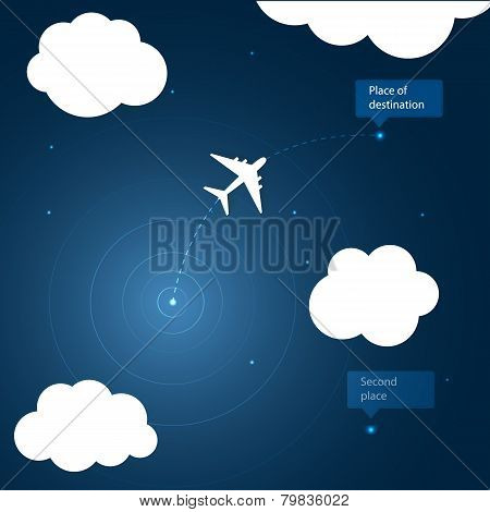 Airplane routes to place of destination.