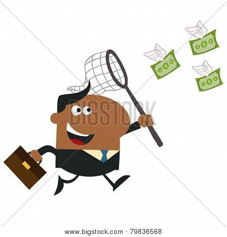 African American Manager Chasing Flying Money With A Net.Flat Style