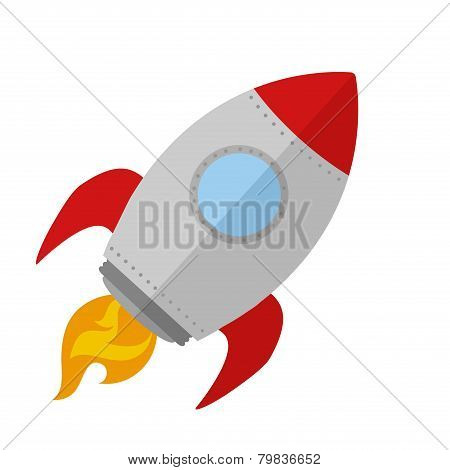 Rocket Ship Start Up Concept.Flat Style