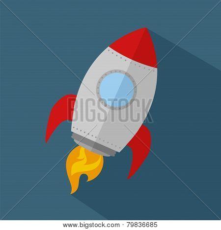 Rocket Ship Start Up Icon.Flat Style