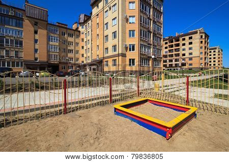 Sandbox on the children's playground.