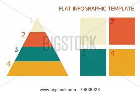 Flat Infographic Template With Pyramid And Boxes