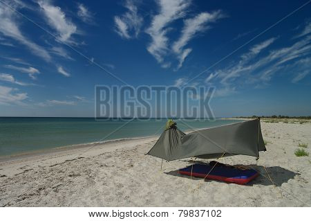 Tent on the sea coast