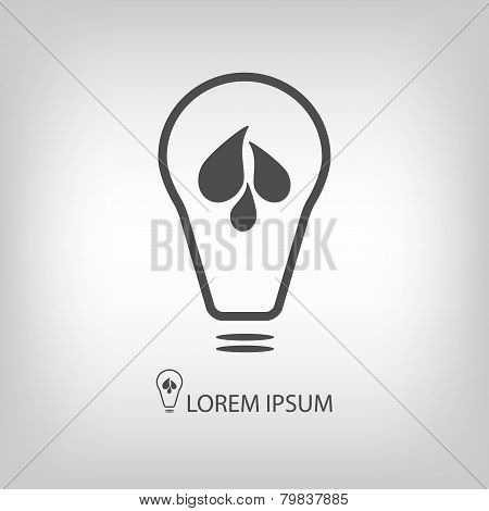 Bulb with water drops as eco energy symbol