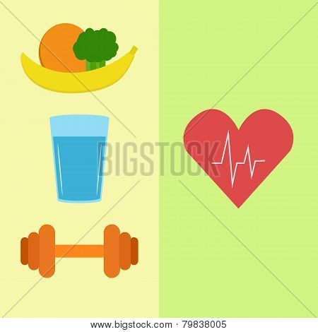 Healthy food, water and sport
