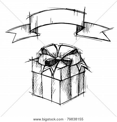 Hand Drawn Illustration - Magic Gift Box With Ribbon. Vector