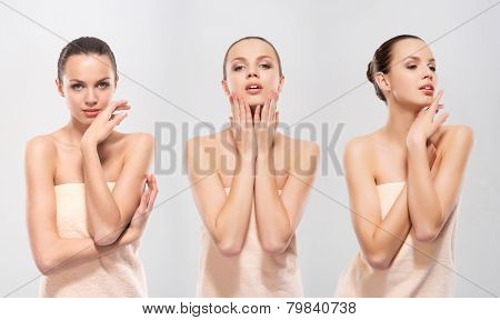 Young and attractive Caucasian woman in a soft towel. Collection of three images.