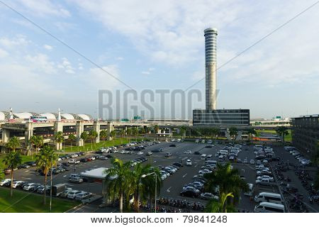 BANGKOK, THAILAND - NOV 07: Suvarnabhumi Airport control tower on November 07, 2014. Suvarnabhumi Airport is one of two international airports serving Bangkok