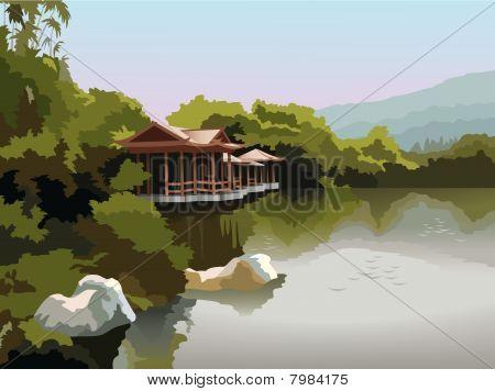 Pagoda en la orilla del lago, vector