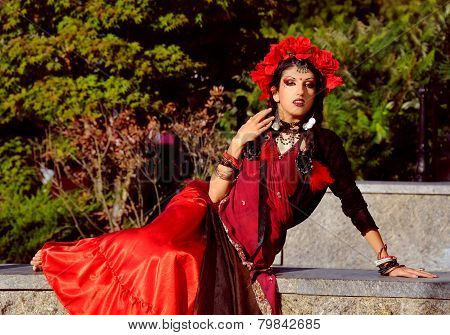 Indian Woman With Dramatic  Makeup