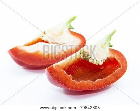 Fresh Red Capsicum Sliced With Seed