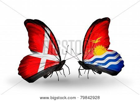 Two Butterflies With Flags On Wings As Symbol Of Relations Denmark And Kiribati
