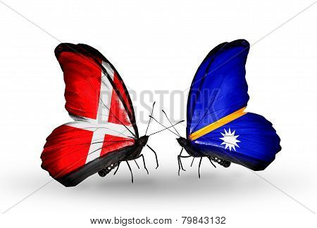 Two Butterflies With Flags On Wings As Symbol Of Relations Denmark And Nauru