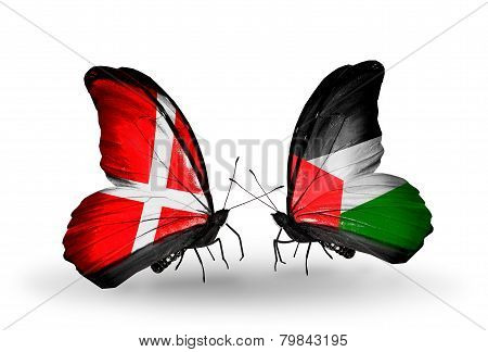 Two Butterflies With Flags On Wings As Symbol Of Relations Denmark And Palestine