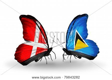 Two Butterflies With Flags On Wings As Symbol Of Relations Denmark And Saint Lucia