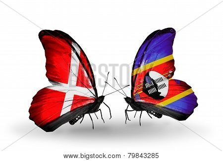 Two Butterflies With Flags On Wings As Symbol Of Relations Denmark And Swaziland