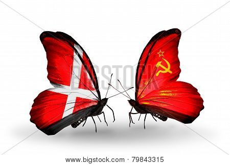 Two Butterflies With Flags On Wings As Symbol Of Relations Denmark And Soviet Union
