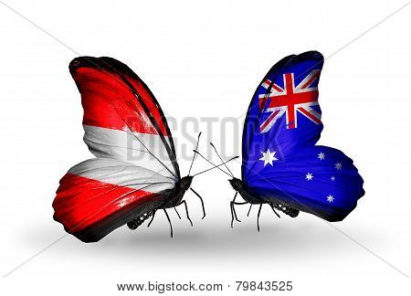 Two Butterflies With Flags On Wings As Symbol Of Relations Austria And Australia