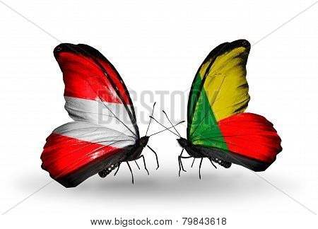 Two Butterflies With Flags On Wings As Symbol Of Relations Austria And Benin