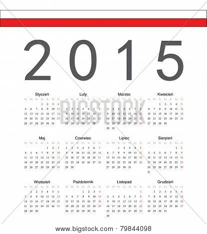 Simple Polish 2015 Year Vector Calendar