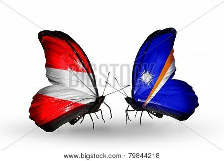 Two Butterflies With Flags On Wings As Symbol Of Relations Austria And Marshall Islands
