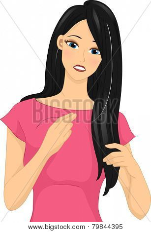 Illustration of a Girl Feeling Distressed After Finding a White Strand of Hair