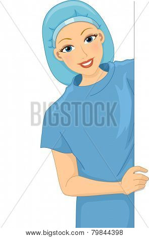 Illustration of a Smiling Female Patient Holding a Blank Board