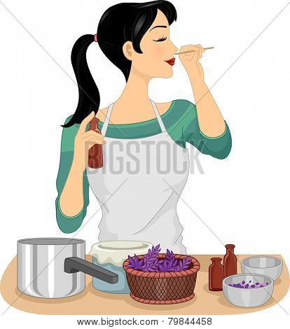 Illustration of a Woman Testing Her Homemade Organic Perfume