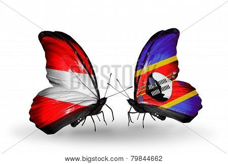Two Butterflies With Flags On Wings As Symbol Of Relations Austria And Swaziland