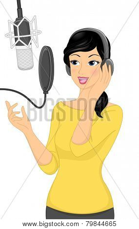 Illustration of a Woman Recording a Song in a Music Studio
