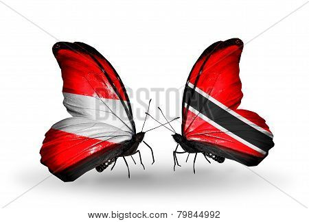 Two Butterflies With Flags On Wings As Symbol Of Relations Austria And Trinidad And Tobago