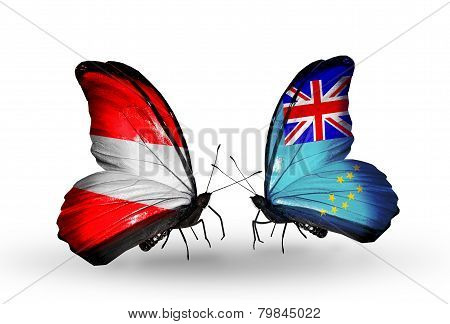 Two Butterflies With Flags On Wings As Symbol Of Relations Austria And Tuvalu