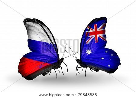 Two Butterflies With Flags On Wings As Symbol Of Relations Russia And Australia