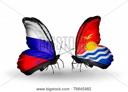 Two Butterflies With Flags On Wings As Symbol Of Relations Russia And Kiribati
