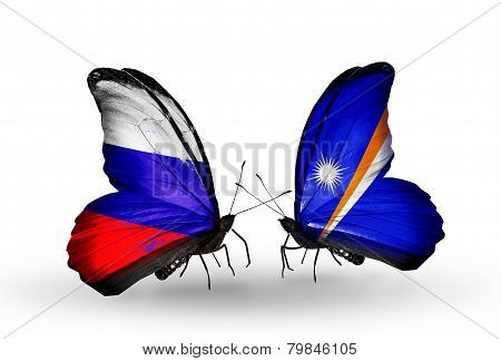 Two Butterflies With Flags On Wings As Symbol Of Relations Russia And Marshall Islands