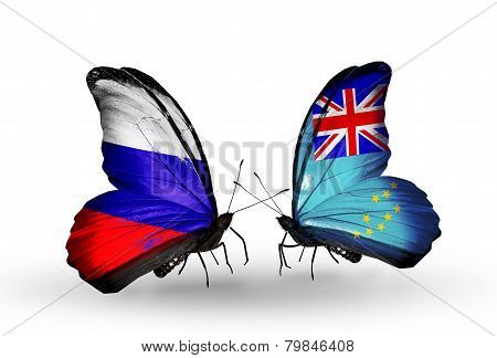 Two Butterflies With Flags On Wings As Symbol Of Relations Russia And Tuvalu
