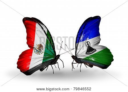 Two Butterflies With Flags On Wings As Symbol Of Relations Mexico And Lesotho