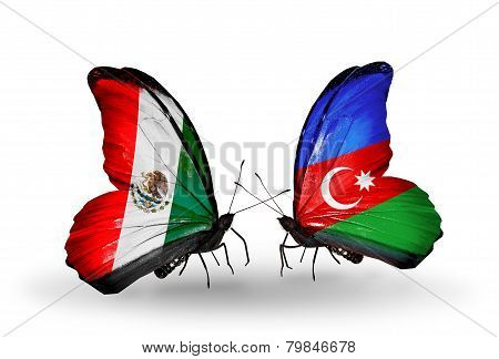 Two Butterflies With Flags On Wings As Symbol Of Relations Mexico And Azerbaijan