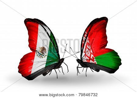 Two Butterflies With Flags On Wings As Symbol Of Relations Mexico And Belarus