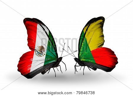 Two Butterflies With Flags On Wings As Symbol Of Relations Mexico And Benin
