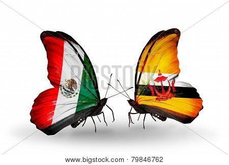 Two Butterflies With Flags On Wings As Symbol Of Relations Mexico And Brunei