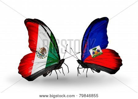 Two Butterflies With Flags On Wings As Symbol Of Relations Mexico And Haiti